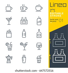 Lineo Editable Stroke - Drink and Alcohol line icons Vector Icons - Adjust stroke weight - Expand to any size - Change to any colour