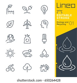 Lineo Editable Stroke - Ecology and Recycling line icons Vector Icons - Adjust stroke weight - Expand to any size - Change to any colour