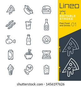 Lineo Editable Stroke - Fast Food and Drinks line icons