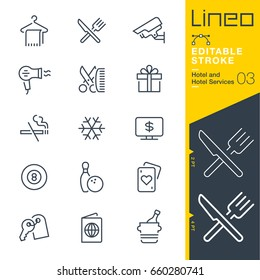 Lineo Editable Stroke - Hotel line icons