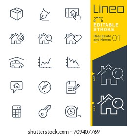 Lineo Editable Stroke - Real Estate and Homes line icons. Vector Icons - Adjust stroke weight - Expand to any size - Change to any colour