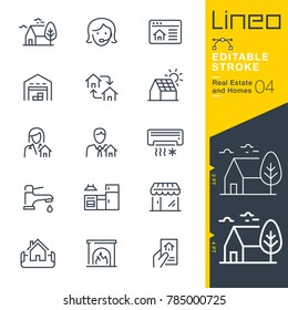 Lineo Editable Stroke - Real Estate and Homes line icons