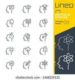 Lineo Editable Stroke - Thinking Heads line icons