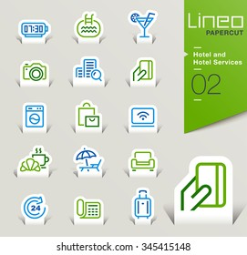 Lineo Papercut - Hotel and Hotel Services outline icons