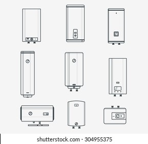 Liner icons set of boilers. Modern and classic, slim and designer boilers. Efficient house concept. Thin line style.
