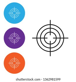 Liner illustration in four styles Target aim icon, cross aim sign