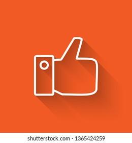 Liner illustration with long shadow on orange backgraund Like hand icon. Like Symbol