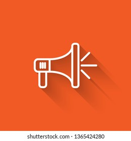 Liner illustration with long shadow on orange backgraund Megaphone, loudspeaker, mouthpiece symbol or icon.
