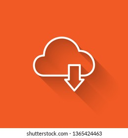 Liner illustration with long shadow on orange backgraund Cloud download. One of a set web icons