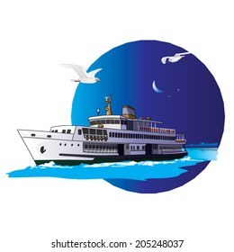 A liner passing the boshporus at nightfall in front of istanbul silhouette. Vector, illustration. Steamship