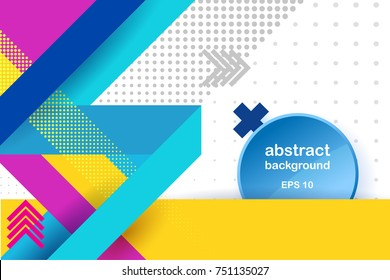 Lines abstract background, , frame on the right. Vector abstract background texture design, bright poster, banner yellow background, pink and blue stripes and shapes.