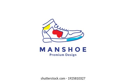 lines art abstract color shoes sneakers logo design vector icon symbol illustration