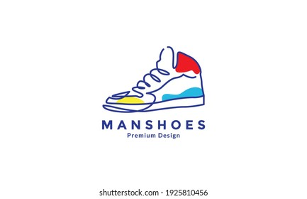 lines art abstract shoes sneaker logo design vector icon symbol illustration