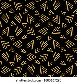 Lines art. Seamles pattern. Abstract vector. Golden on Black. Modern stylish texture. Cute background. New fashion design. Textile category