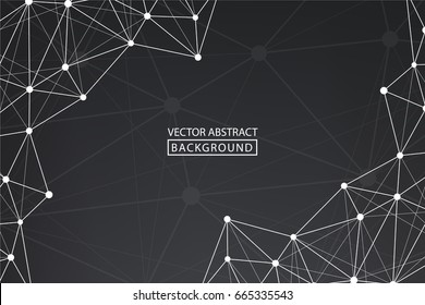 Lines background dots with connections for your design. Molecule and communication background. Vector illustration