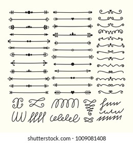 Lines, borders and dividers. Hand drawn calligraphic design elements. Set of decorative symbols in doodle style. Vector illustration