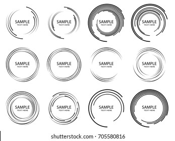 Lines in Circle Form . Spiral Vector Illustration .Technology round Logo . Design element . Abstract Geometric shape . Striped border frame for image