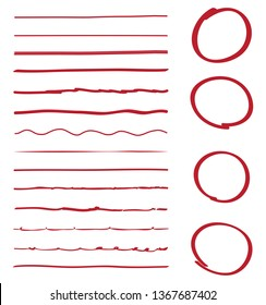 Lines and circles hand drawn vector set isolated on white background. Collection of red doodle lines and circles, hand drawn template. Creative art concept, vector illustration