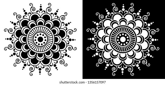 Lines, Circles and Spirals - Indian Traditional and cultural Mandala design concept of Rangoli, Alpona, Kolam or Paisley vector line art with dark and white background