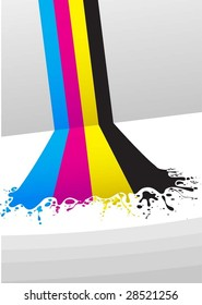 lines of CMYK paint