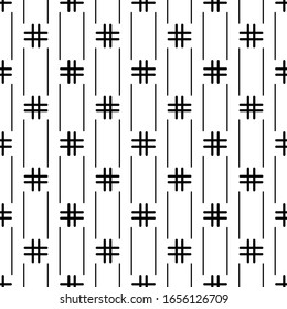 Lines, crosses seamless pattern. Stripes, hashtags print. Ethnic illustration. Linear background. Abstract ornament. Strokes, signs wallpaper. Line, cross shapes backdrop. Textile print, vector work