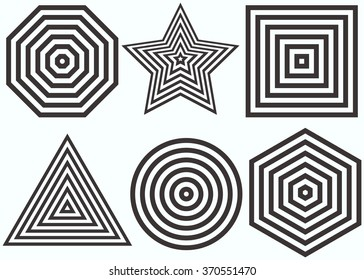 Lines Design.Nested concentric figures: octagon, star, square, triangle, circle, hexagon. Vector illustration. Geometric background for minimalist, classic design. Equal periodic intervals.