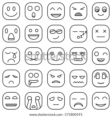 Lines Emoticons Faces Emoji Style Vector Icons Set