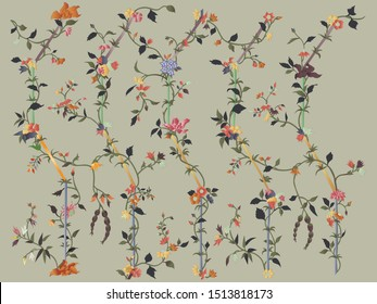 Lines with floral pattern design