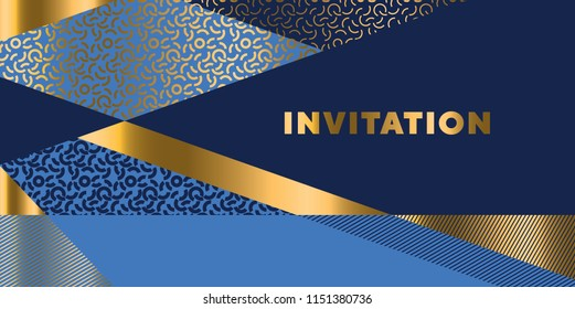 Lines geometric pattern for invitation. Geometry stock vector illustration. Gold and sea blue stripes design element for elegant festive projects and awards.