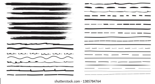 Lines hand drawn brash stroke. Vector set isolated on white background. Collection of doodle lines, hand drawn template. Black marker and grunge brush stroke lines, vector illustration