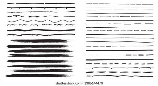 Lines hand drawn paint brush stroke. Vector set isolated on white background. Collection of distressed and doodle lines, hand drawn template. Black marker, ink and grunge brush stroke lines, vector