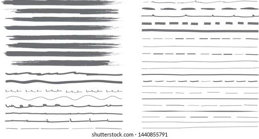 Lines hand drawn paint brush stroke. Vector set isolated on white background. Collection of black distressed and doodle lines, hand drawn template.Gray marker,ink and grunge brush stroke lines, vector