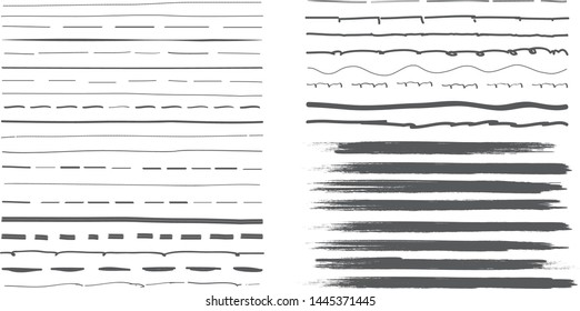 Lines hand drawn paint brush stroke. Vector set isolated on white background. Collection of grey distressed and doodle lines, hand drawn template.Gray marker,ink and grunge brush stroke lines, vector