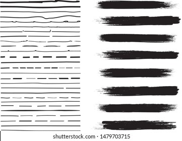 Lines hand drawn paint brush stroke. Vector set isolated on white. Collection of distressed, doodle, pen and pencil lines. Hand drawn scribble. Black border, ink and grunge brush stroke lines, vector