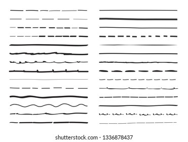 Lines hand drawn vector set isolated on white background. Collection of doodle lines, hand drawn template. Creative art concept, vector illustration