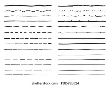Lines hand drawn vector set isolated on white background. Collection of doodle lines, hand drawn template. Black marker and grunge brush stroke lines, vector illustration