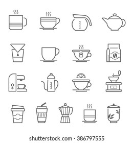 Lines icon set - coffee and tea
