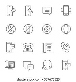 Lines icon set - communication
