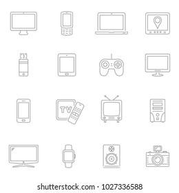 Lines icon set - digital devices