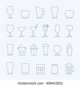 Lines icon set - glass and beverage