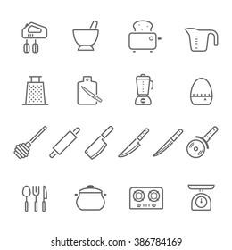 Lines icon set - kitchenware