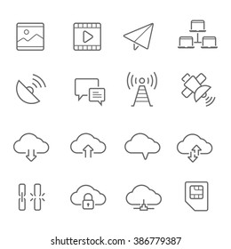 Lines icon set - network communication