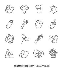 Lines icon set - vegetable