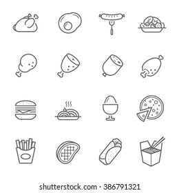 Lines icon set - Western food