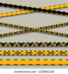 Lines isolated. Warning tapes. Caution. Danger signs. Vector illustration.