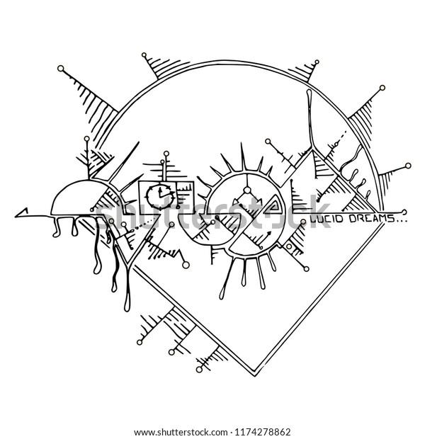 Lines Lucid Dreams Vector Hand Drawn Stock Vector (Royalty