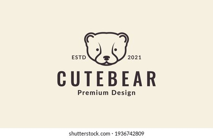 lines modern cute head little bear logo symbol vector icon illustration design