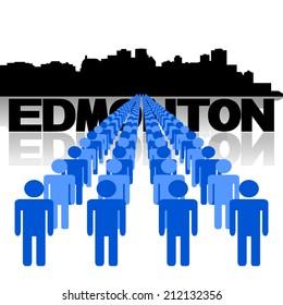 Lines of people with Edmonton skyline vector illustration