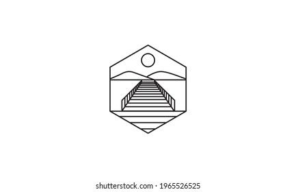 lines pier or dock with nature logo vector symbol icon design graphic illustration