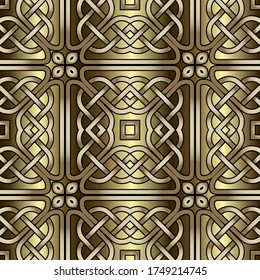 Lines seamless pattern. Celtic grid ornament. Repeat curved lines grid backdrop. Ethnic tribal style line art knotted ornament. Intricate luxury vector arabic style design. Abstract ornate background.